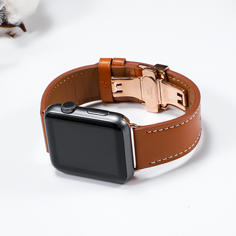 Image 2 - Leather Strap For Apple watch 5 4 band correa apple watch 42mm 38 mm 44mm 40mm iWatch 4 3 2 Butterfly buckle pulseira watchbandWatchbands   -