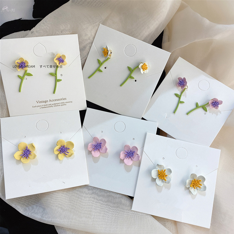AOMU Korean Fashion Cute Romantic Chrysanthemum Flowers Stud Earrings New Colorful Small Little Daisy Earrings Jewelry Gifts