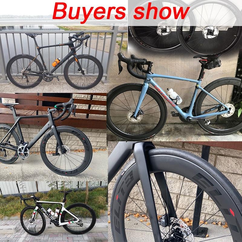 Elite SLR frein à disque carbone route vélo roue système de faible résistance tubulaire pneu Tubeless 700c gravier Cyclocross roues - 6
