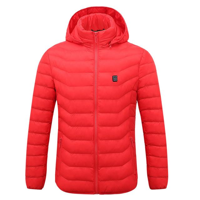 Winter Men's Usb Abdominal Back Heating Warm Down Cotton Jacket