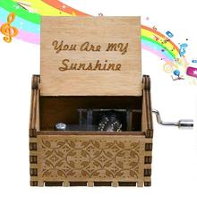 Christmas Gift Handmade Classical Music Box Hand-operated Wooden Home Decor Crafts Decoration