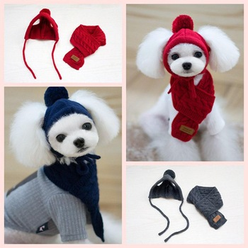 Fashion Winter Warm Knitted Pet Hat Scarf Set Dogs Hats Pets Products Funny Cosplay Pet Dog Cap For Chihuahua Puppy Accessories 1