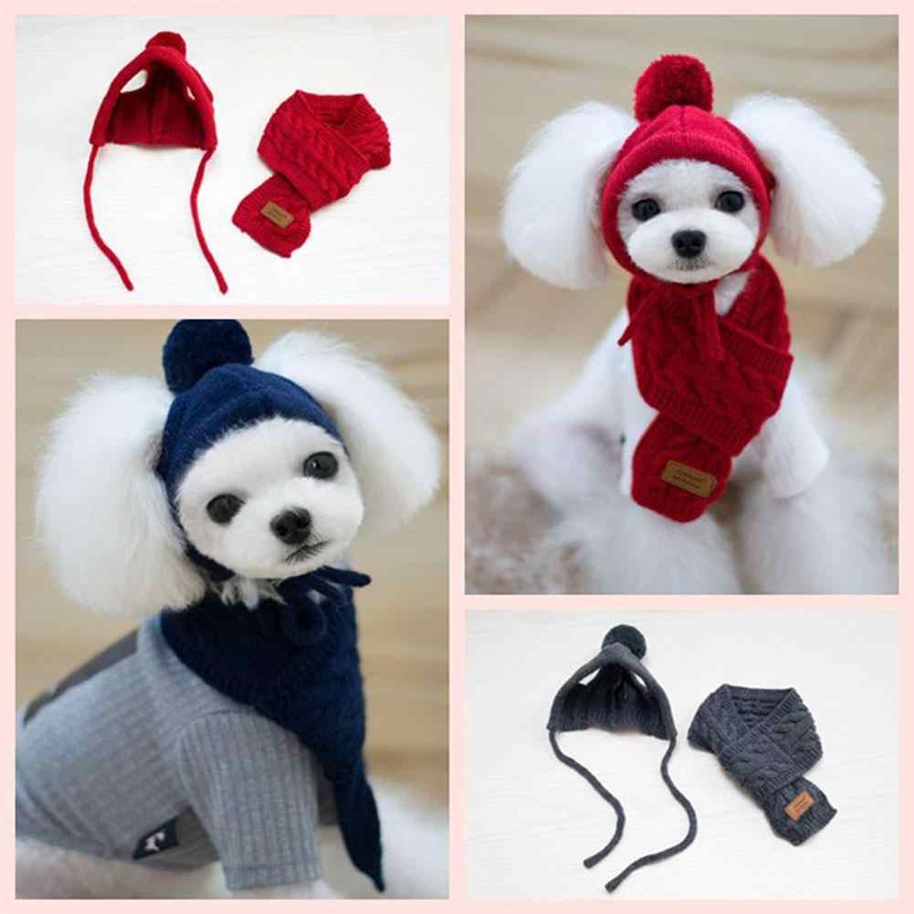 Mode Musim Dingin Hangat Rajutan Hewan Peliharaan Hat Syal Set Anjing Topi Hewan Peliharaan Produk Lucu Cosplay Hewan Peliharaan Anjing Topi untuk Chihuahua Puppy aksesoris