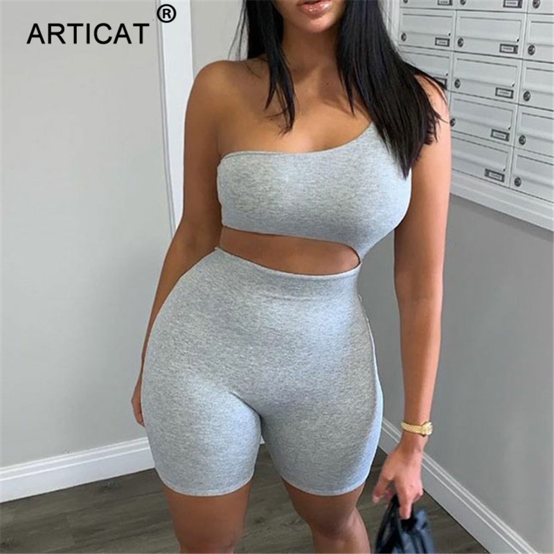 Articat Sexy One Shoulder Hollow Out Playsuit Women Skinny Solid Irregular Bodysuit Female Fitness Jumpsuits Workout Clothes