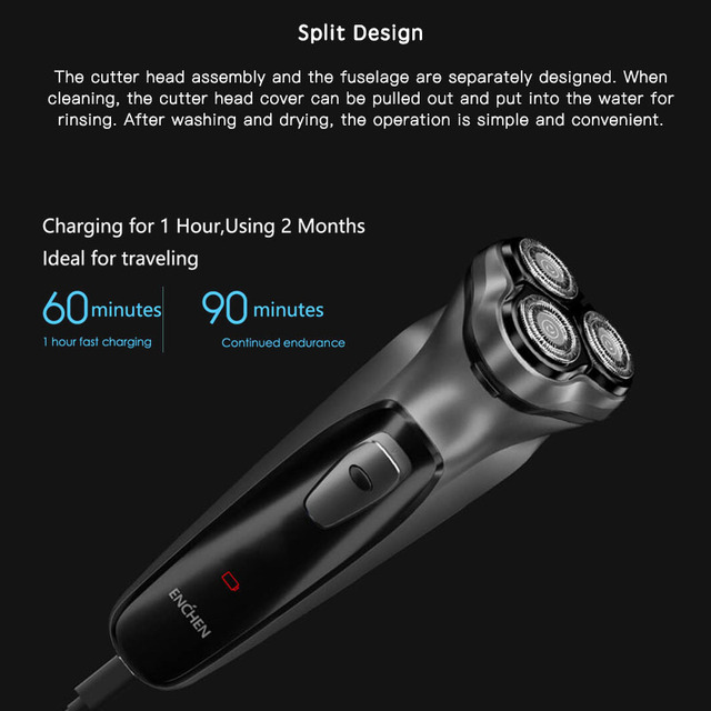 Xiaomi Electric face Shaver Enchen BlackStone 3D Electric Machine Razor Beard Washable USB Type-C Rechargeable for Men gifts 2