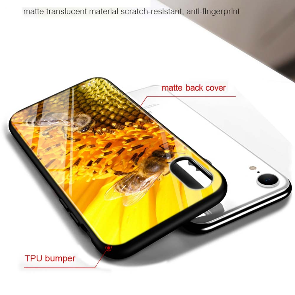Black Cover Golden Honeycomb Honey for iPhone X XR XS Max for iPhone 8 7 6 6S Plus 5S 5 SE Super Bright Glossy Phone Case in Fitted Cases from Cellphones Telecommunications