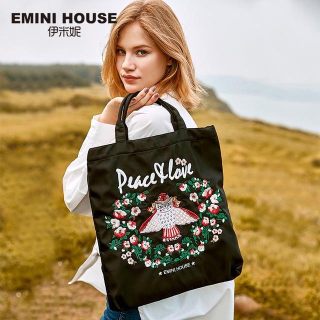 EMINI Bolsa de compra plegable de gran capacidad para mujer, bolso de mano bordado, cruzado, espacioso
