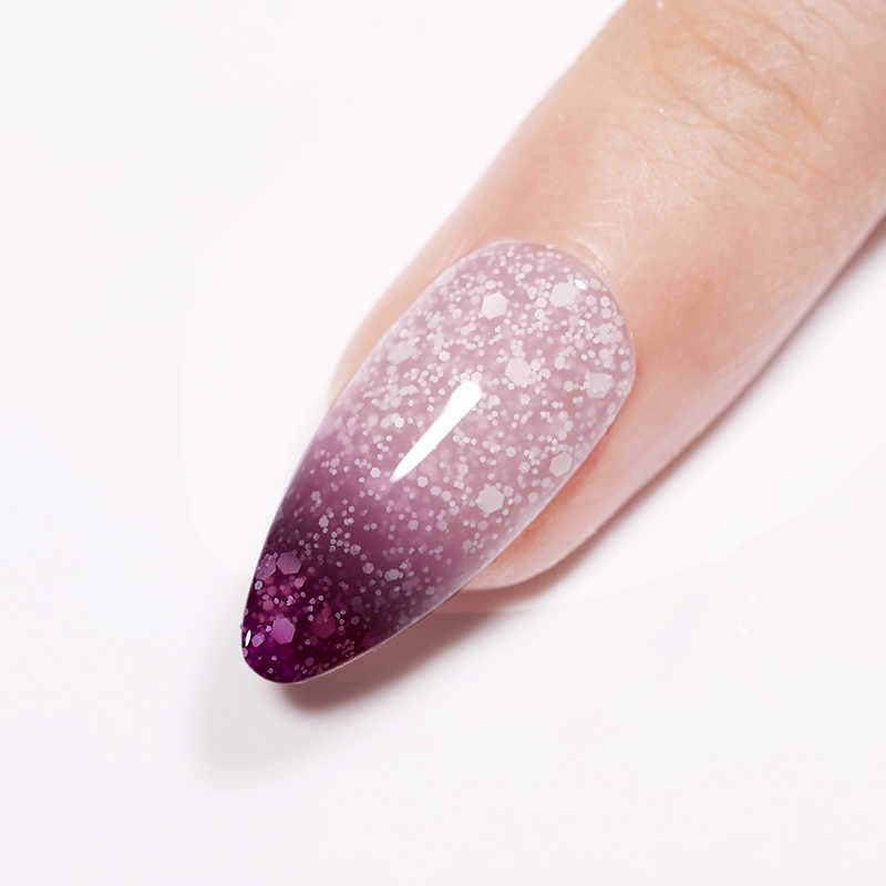 UR şeker 7.5ml termal Glitter jel kapalı islatın UV kar tanesi payetler sıcaklık değişen oje vernik jel tırnak sanat vernik