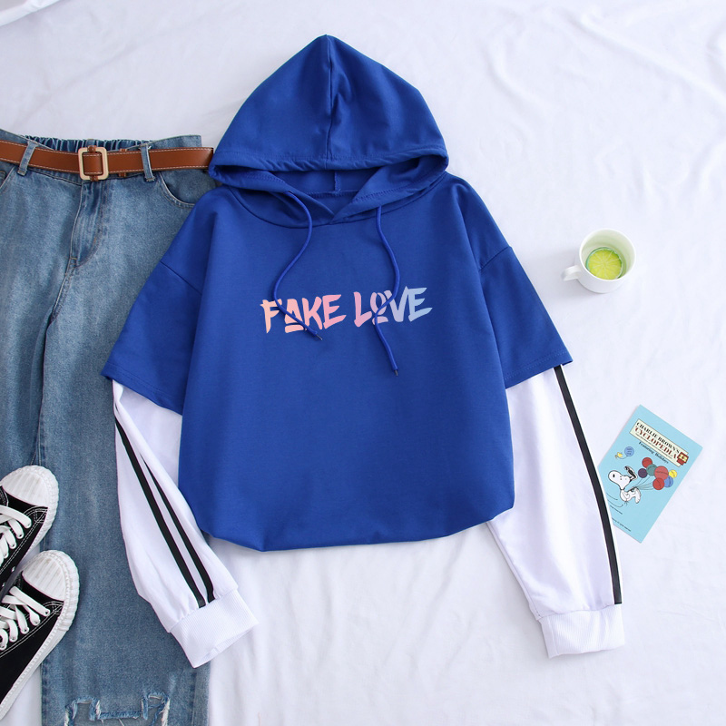 Bangtan Boys Kpop Hoodies Men New Autumn FAKE LOVE Printed High Quality Fashion Spell Color Pullover Streetwear For Couples(China)