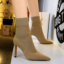 Elastische Stricken Mode Socke Stiefel 2020 Herbst Stretch Slip Weibliche Stiletto Kurze Stiefel Sexy Spitz High Heels Frauen Pumpen(China)