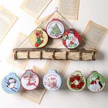2019 Xmas new Year Christmas Round tinplate Candy jar snowman Children's gift box Cookie jar Christmas decorations for the home the tear jar