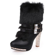 High quality winter boots ladies warm shoes rhinestones high heels 2019 black and white pu leather snow large size