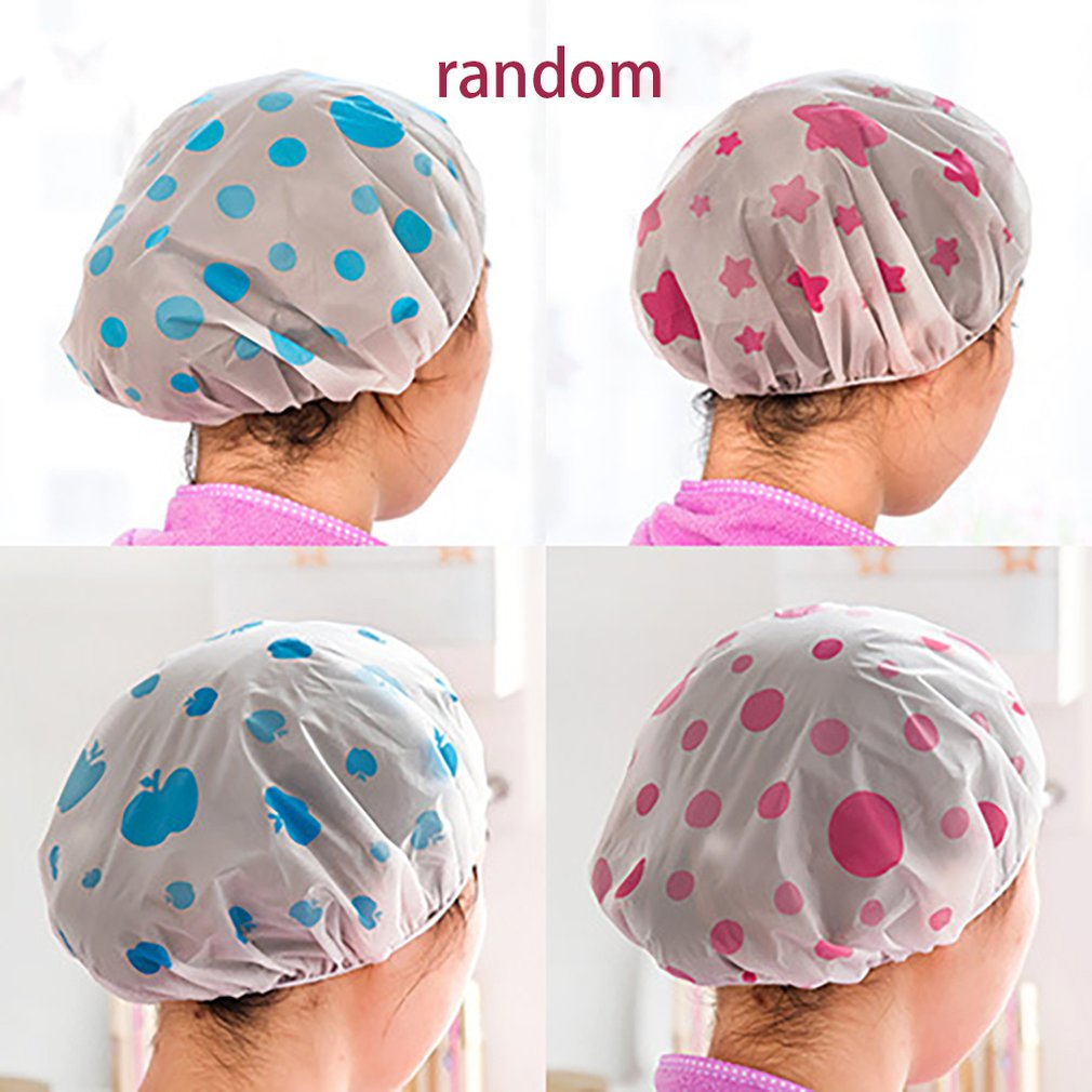 Lovely Waterproof Shower Cap Thicken Bath Hat Solid Color One-Off Elastic Bathing Cap Bathroom Accessories For Women