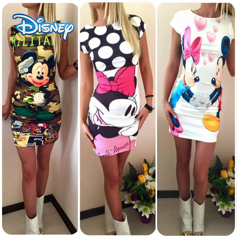 Disney Mickey Minnie Mouse Dress Women Fashion Print O-Neck Sleeveless Summer Mini Dresses Bodycon Slim Casual Pencil Vestidos