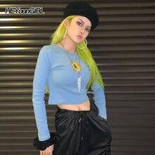 HEYounGIRL Basic Long Sleeve T-shirt Ladies Embroidery Casual Harajuku Tshirts Cotton Women Neon Green Tee Shirt Woman Autumn