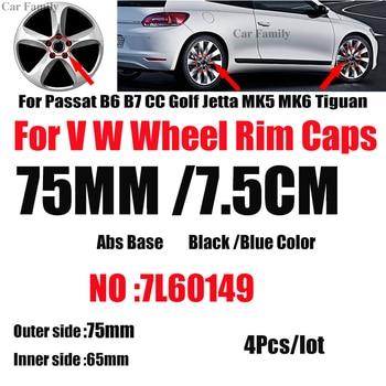 4pcs 75mm/76mm 7L6601149 For Passat B6 B7 CC Golf MK5 MK6 Tiguan Dustproof Car Wheel Center Hub Caps Rims Centre Covers