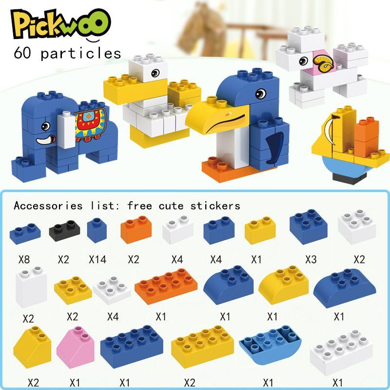 Кирпич Pickwoo D8 большого размера от 60 до 120 шт., красочные объемные кирпичи «сделай сам», строительные блоки, совместимые с фигурами Duploed, игрушк...