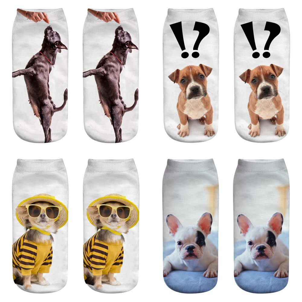 LISCN 3D Animal Print Dog Idyllic Playful Cute Huskies Men's And Women's Socks Harajuku Socks