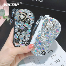 Crystal Glass Drill Car Pendant Key Chain Storage Bag Hanging Decoration Female Creative Handmade Gift