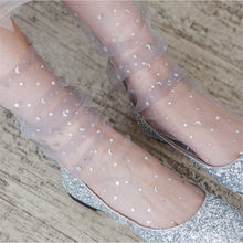 Moda doce cor fina malha tule tornozelo meias transparente malha elástica brilhante twinkle estrelas lua ultra-fino fishnet meias