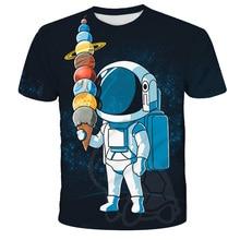Children T-shirt The Astronauts Space Child Shirt Girl Short T Shirts Kids Vest Baby Clothes Boy Tops Teens Tee