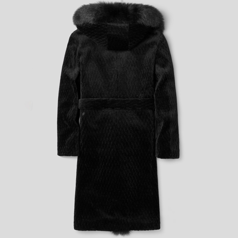 Real Sheep Shearling Fur Coat Winter Jacket Men 100%Wool Coat Fox Fur Collar Long Coat Chaqueta Hombre LSY088306MY1143