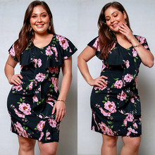 Plus Size Women Dress Work Floral Crew Neck Ruffle Short Sleeves Summer Casual Large Size Sheath Lady Club Dress Robe femme plus size sheath dress with long sleeves