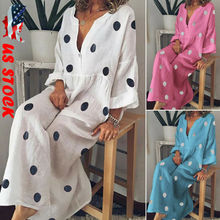 Goocheer Plus Size Women Summer Dress Polka Dot Loose Long Maxi Dress Casual Long Sleeve Boho Beach Dresses Bohemian Sundress цена и фото
