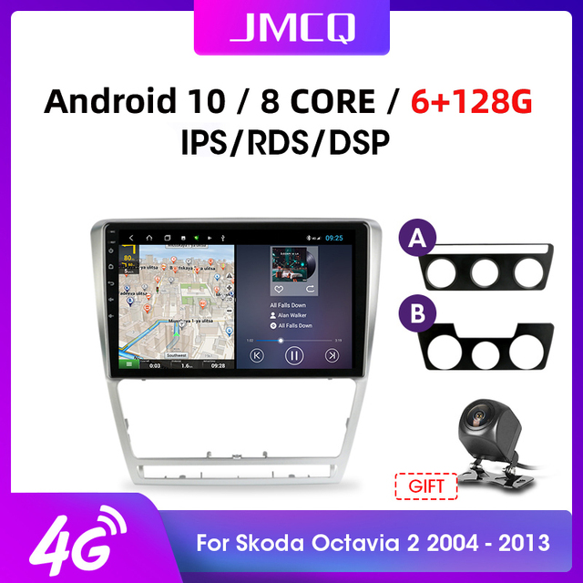 """JMCQ 10 """"4G + WiFi 안드로이드 10.0 자동차 라디오 멀티미디어 비디오 플레이어 GPS 네비게이션, 스코다 옥타비아 2 A5 2008 2013 헤드 유닛 2din"""