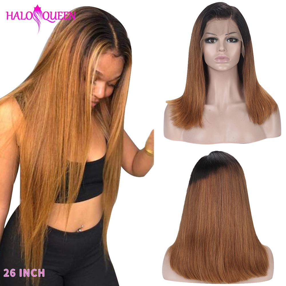 HALOQUEEN Straight 13*4 Lace Front Human Hair Wigs Ombre 2# Brown Color Wig Density 130% 150% Brazilian Remy Hair Bleached Knots