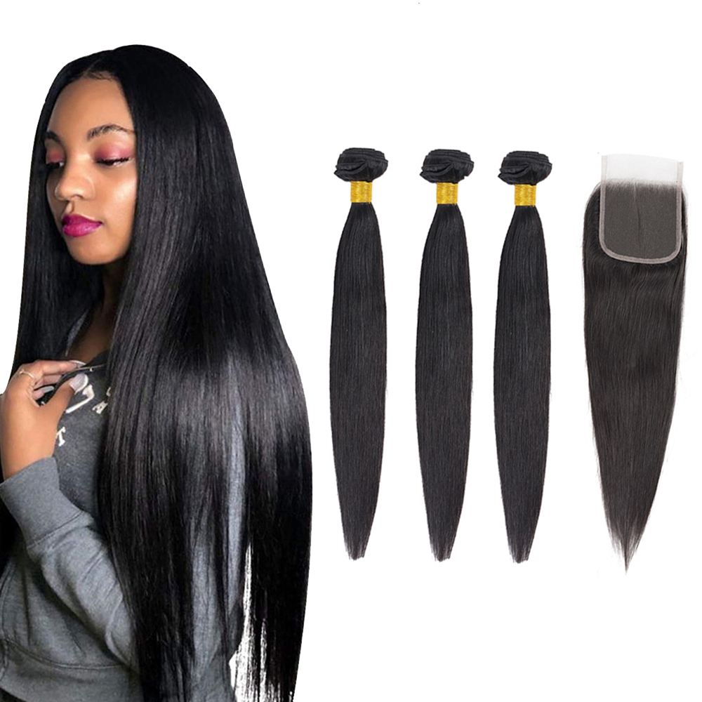 Brazilian Hair Weaves Bundles Straight Human Hair Bundles With Closure Natural Color Non Remy Hair Extensions