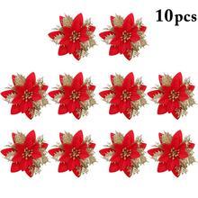 10 шт. искусственные цветы для украшения блестки Poinsettia поддельные цветы DIY новогодняя елка, для дома Свадебные Декорации Цветок голова