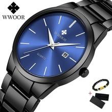 2020 WWOOR Black Watch Men Quartz Business Waterproof Mens Watches Top Luxury Brand Date Clock Waterproof Men Gold Wrist Watch