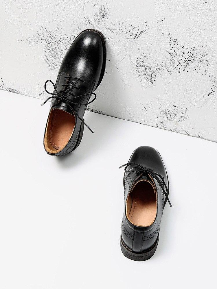 Оксфорды женские в стиле ретро, натуральная телячья кожа, квадратный носок, шнуровка, повседневные туфли на плоской подошве, Дерби