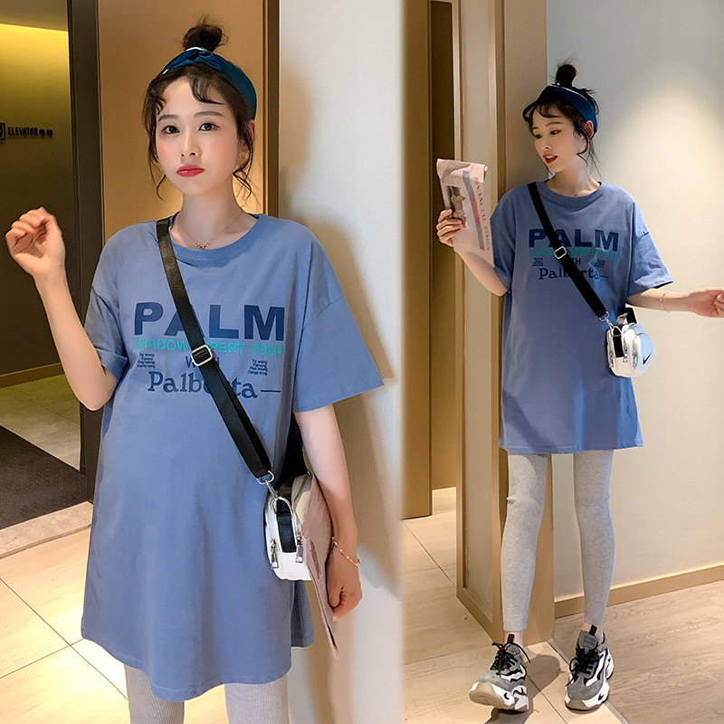 Summer Thin Letter Printed Cotton Maternity Tees Large Size Loose T Shirt Clothes for Pregnant Women Pregnancy Casual Tops