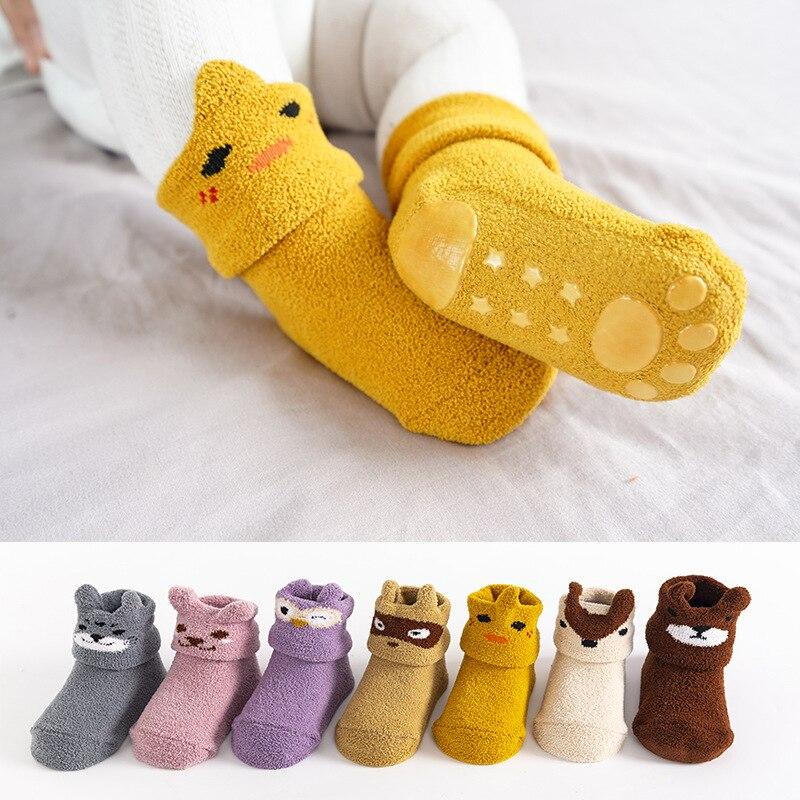 Детские Нескользящие носки из кораллового флиса, осенне зимние теплые и плотные носки для новорожденных, носки для новорожденных девочек, мальчиков и младенцев в помещении Носки      АлиЭкспресс