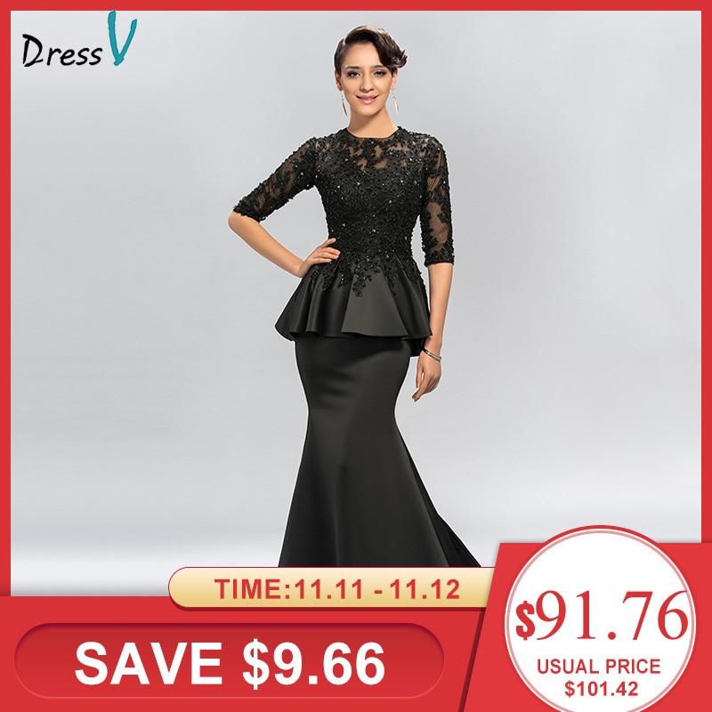 Dressv Vintage Black Mermaid Lace Long Evening Dresses Half Sleeves Beaded scoop neck long appliques evening