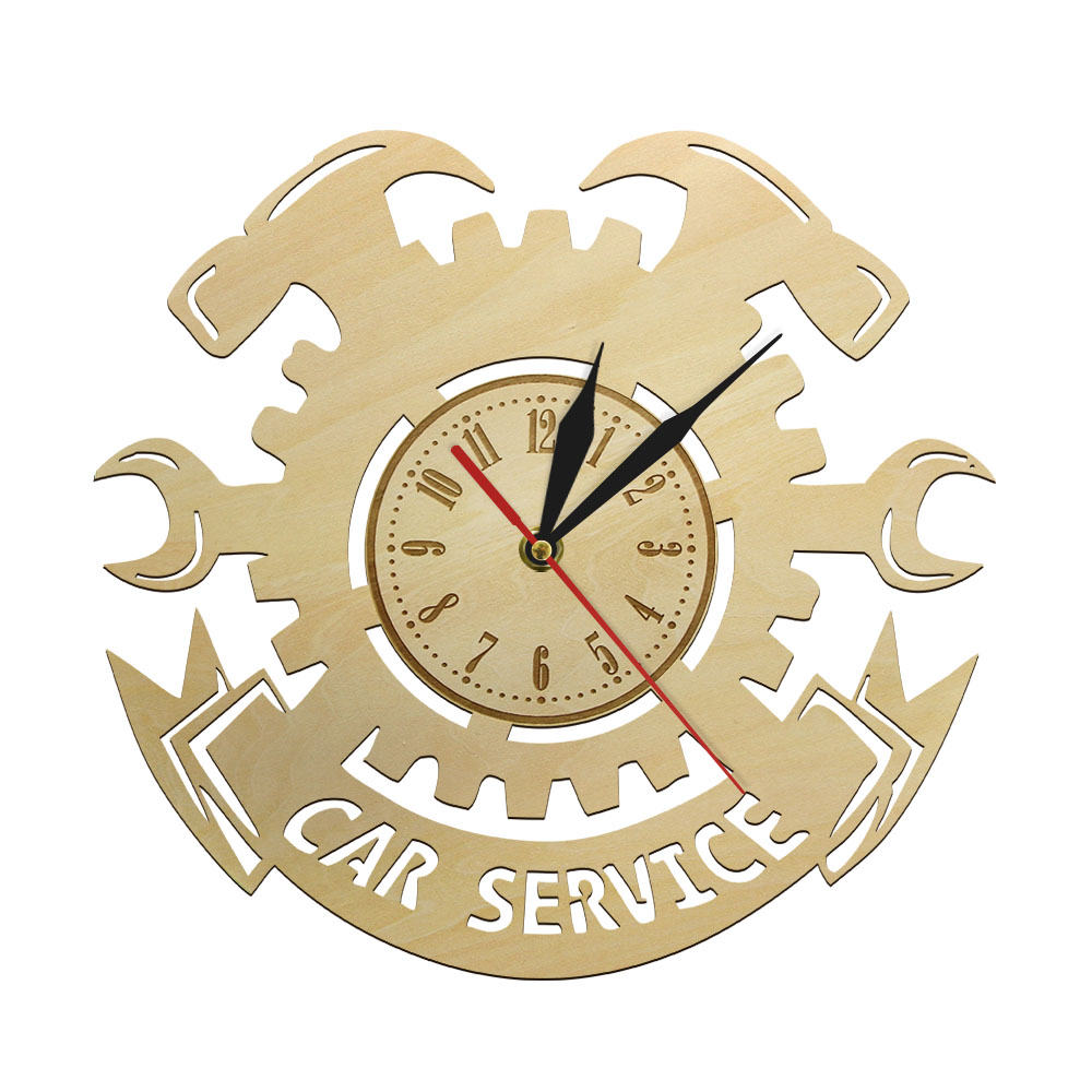 Car Service Repair Tools Wooden Wall Clock Car Auto Wall Clock Watch Vintage Cool Mechanic Gift Ideal For Car Workshop