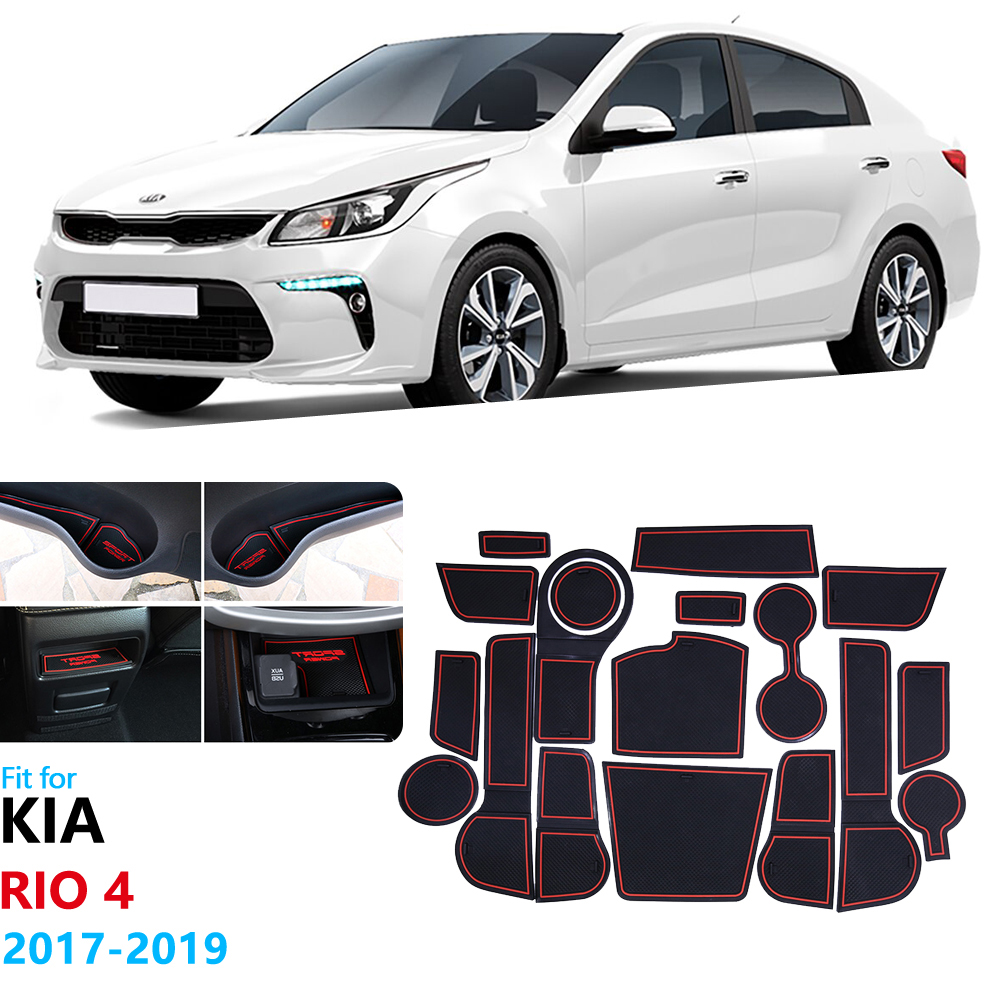 Anti-Slip Rubber Gate Slot Cup Mat for KIA RIO 4 2017 2018 2019 Door Groove Mat For Rio 4 X-Line Cup Cushion Accessories RIO4