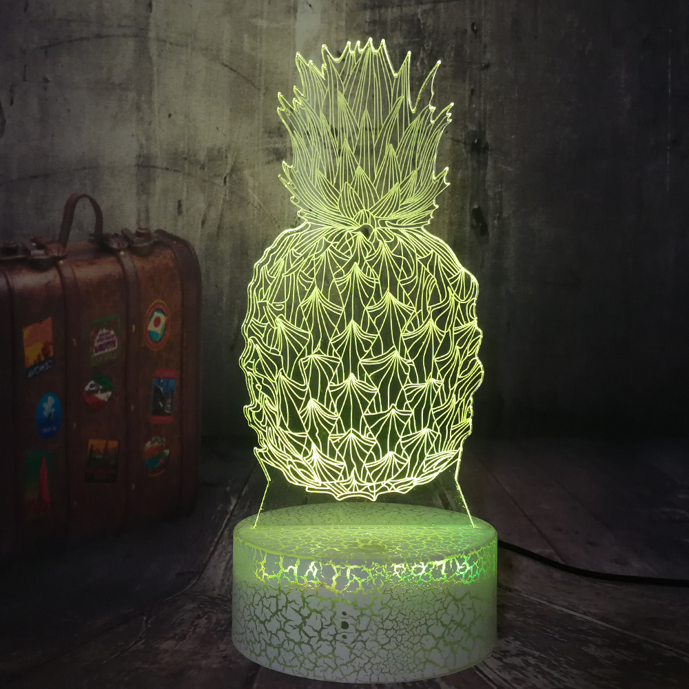 Novelty 3D Pineapple Ananas LED Night Light Colorful Illusion Table Desk Lamp Baby Sleep Lampara Home Decor Child Birthday Gift