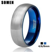 Somen Ring Men Custom Engraved 4mm 6mm 8mm Tungsten Ring for Couple Women Vintage Wedding Band Couple Engagement Rings Anels