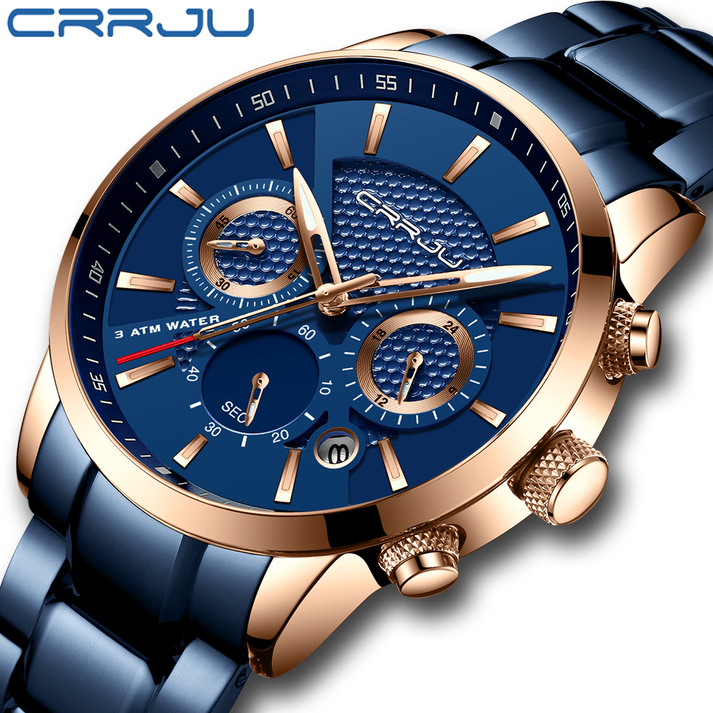 CRRJU Hot Sale Business Men Watch Fashion Blue Chronograph Stianless Steel Wristwatch Casual Waterproof Clock Relogio Masculino