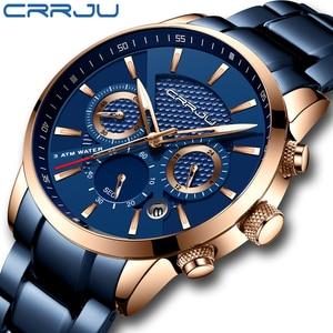Image 1 - CRRJU رائجة البيع رجال الأعمال ساعة موضة الأزرق كرونوغراف الفولاذ المقاوم للصدأ ساعة اليد عادية مقاوم للماء ساعة relogio masculino