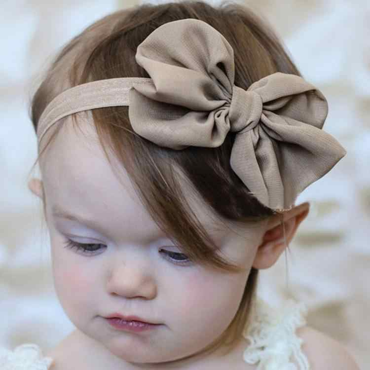 10cm fashion Cute Kids Solid Color Girls headband Chiffon Bowknot Headbands Hair Bows Hair Band Accessories