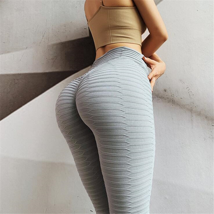 Fashion Tide Brand Women Leggings Solid Color Bubble Textured High Waist Gyms Fitness Leggings Sexy Leggings  Sport Leggings