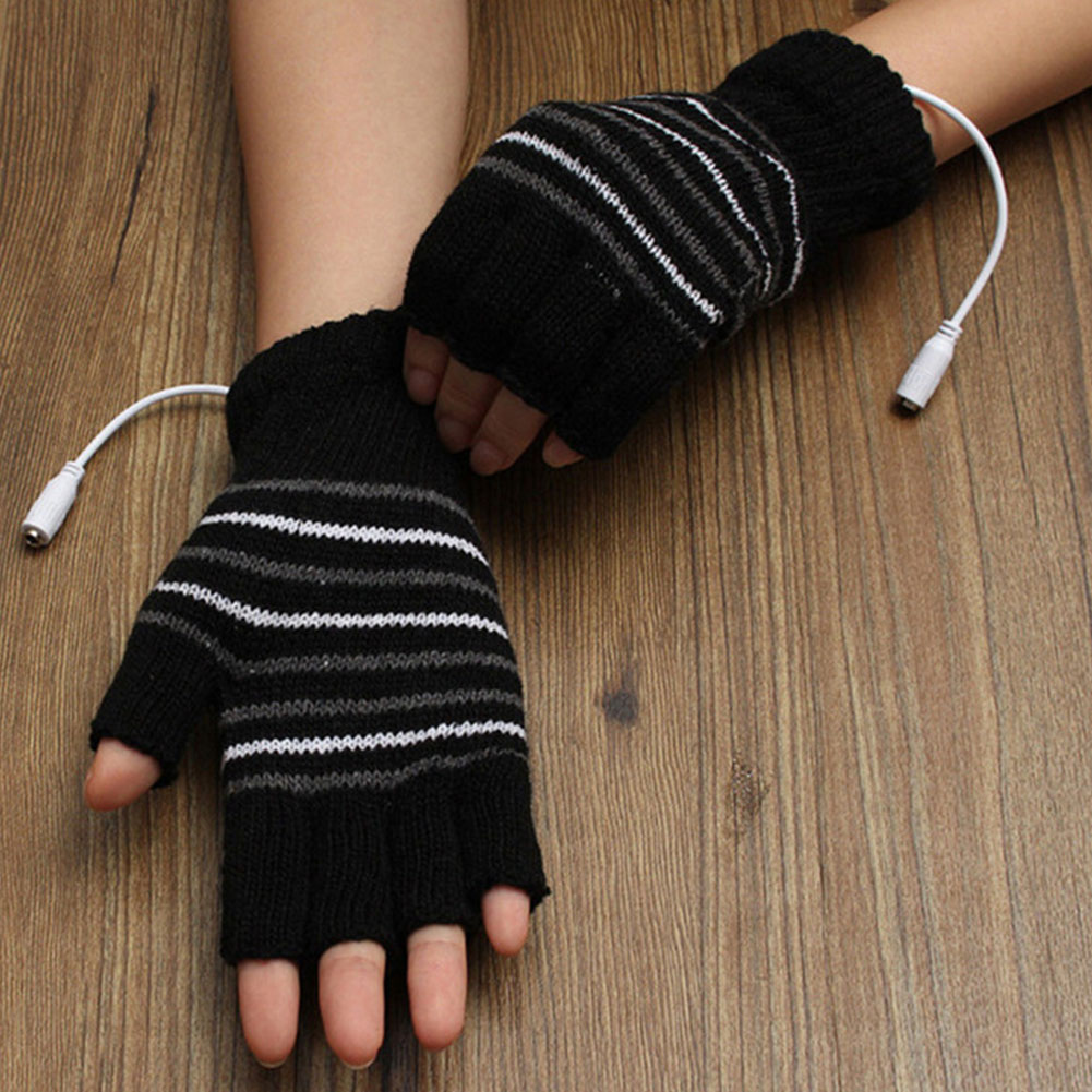 2 Color USB Warm Winter Gloves Battery Powered Sports Outdoor Knitted Heating Gloves Motocross Motorbike Hunting Heated Gloves