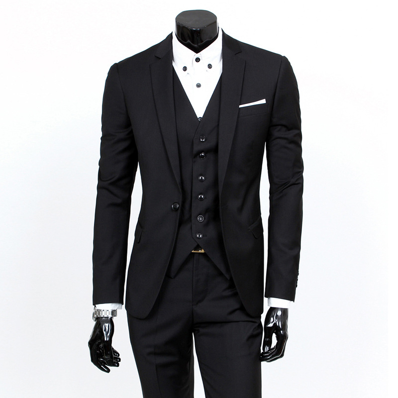 Suit Men Three-piece Set Korean-style Slim Fit Handsome Groom Marriage Formal Dress British-Style Casual Small Suit Fashion