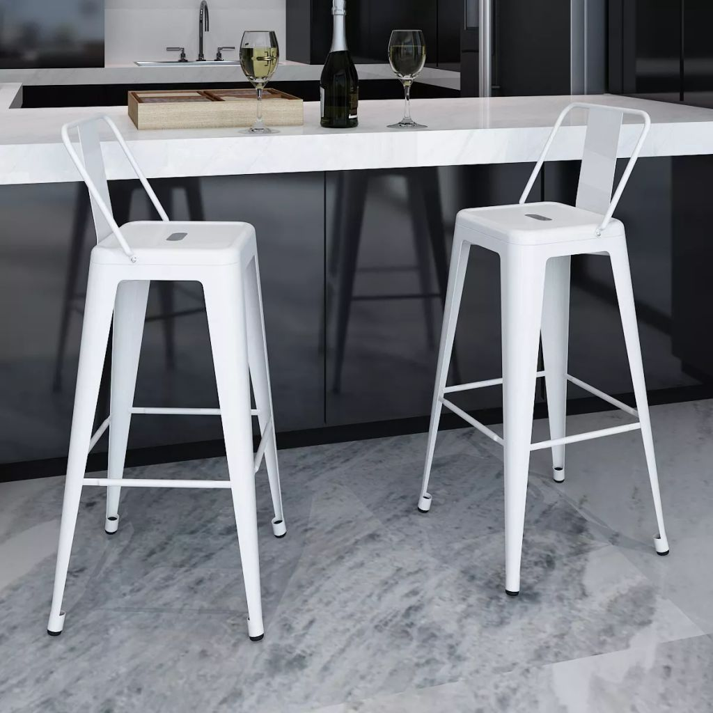 VidaXL Bar Stools 2 Pcs White Steel