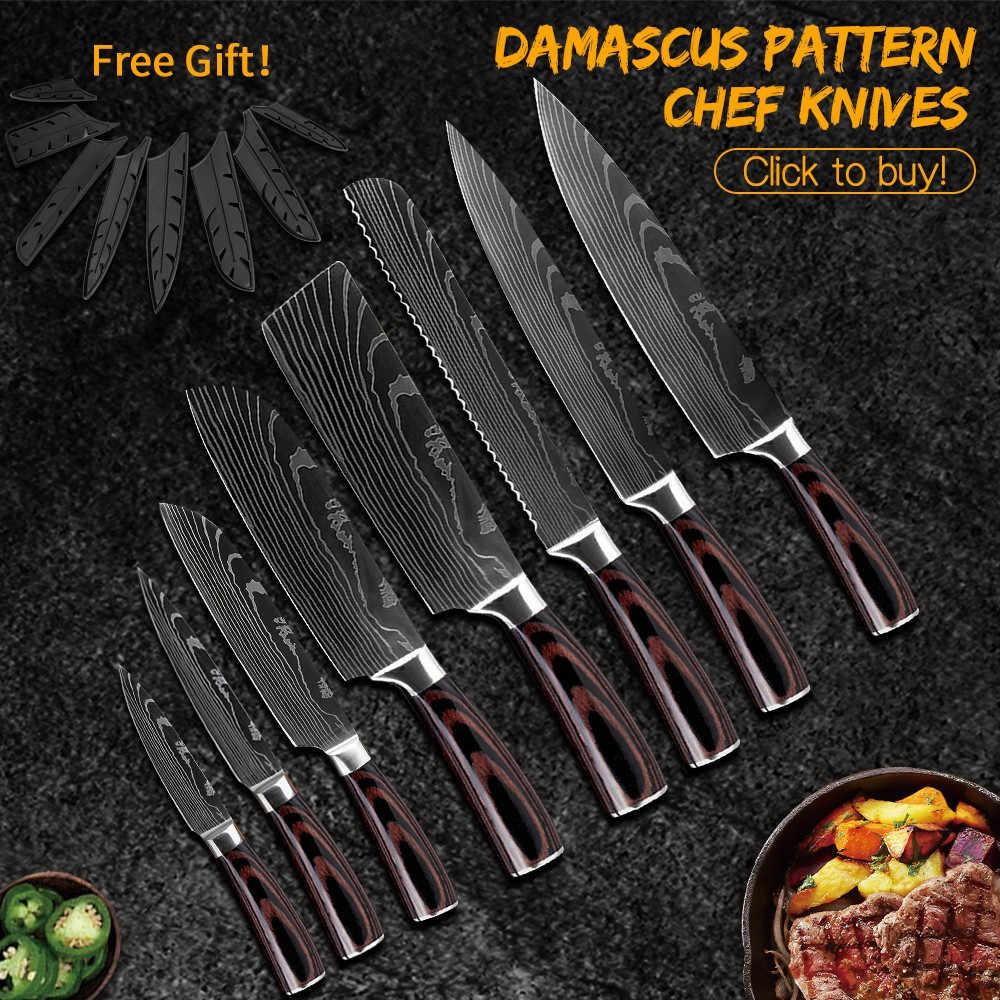 Damask conjunto de facas de chef de cozinha, japonesas, padrão de damasco 7cr17, aço inoxidável de alto carbono, utilitário afiado, santoku, ferramenta de cozinha