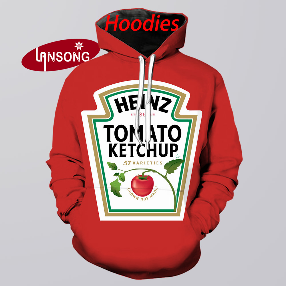 Heinz Ketchup Hoodie Men 3d Print Hooded Sweatshirts/shorts/pants Fashion Harajuku Funny Streetwear Hip Hop Casual Hoody Tee Top